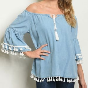GIRLY & FLIRTY OFF SHOULDER TOP WITH TASSEL EDGE